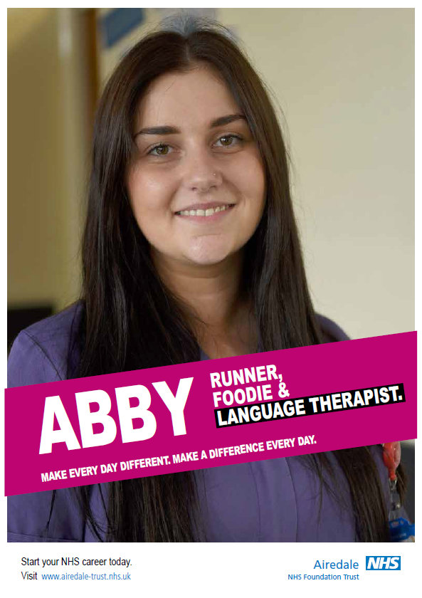 Photo of Abby. Runner, foodie and language therapist. Make every day different. Make a difference every day. Start your NHS career today.