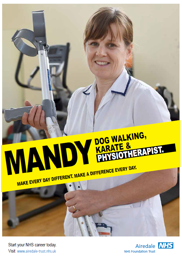 Photo of Mandy. Dog walking, karate and physiotherapist. Make every day different. Make a difference every day. Start your NHS career today.