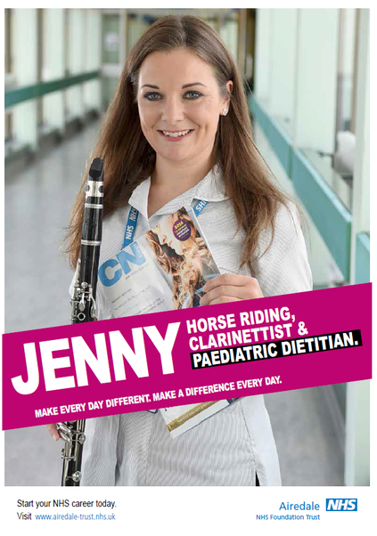 Photo of Jenny. Hose riding, clarinettist and paediatric dietitian. Make every day different. Make a difference every day.